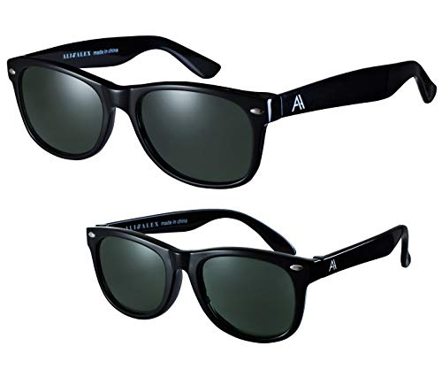 Ali&Alex Adult + Junior Matching Pairs - Classic Square Frame Shiny Black/Polarized Green UV Polarized Designer ()
