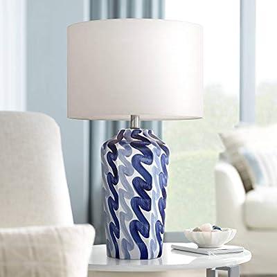 Tony Modern Table Lamp Blue White Ceramic Vase Fabric Drum Shade for Living Room Bedroom Bedside Nightstand Office Family - 360 Lighting