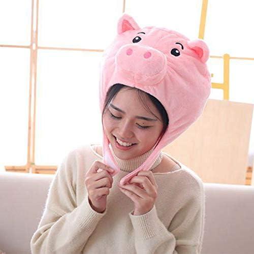 jeerbly 超萌え 豚 着ぐるみ 帽子 ぬいぐるみキャップ 被り物 コスプレ 雰囲気作り ふわふわ 暖かい 写真撮影 親子活