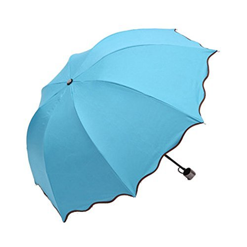 Wii Blue Sleeves (XENO-Anti-uv Sun Protection Umbrella flowers Folding Parasols Rain Umbrella New(sky blue))