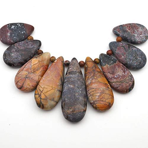 9 Pcs Graduated Set Flat Teardrop Multicolored Red Creek Jasper Beads Asst Size