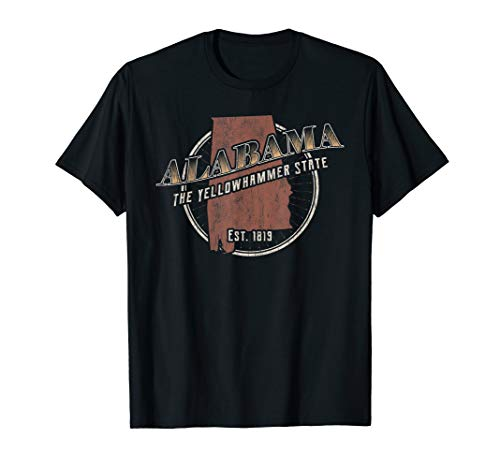 Retro Vintage Alabama Shirt Cool Distressed State Map ()