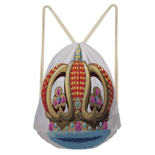 iPrint Sport Drawstring Backpack King,Royal Family Nobility Crown with Colorful Ornaments Image for Sovereign Print Decorative,Red Blue and Golden Children School Bags