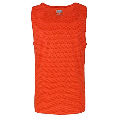 Yasumond Men's Sleeveless T Shirt Gym Quick-Dry Running Moisture-Wicking Muscle Sports Tank Top (Orange, 3XL)