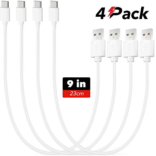 Usb Type C Charger Cable - 4 Pack - 9 in/23cm - Poweroni Fast Charging Cord - Compatible with Samsung Galaxy S9 S8 Note 8 9 LG G5 G6 V20 V30 Google Pixel Charging Station