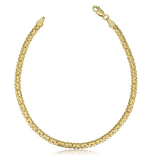 Kooljewelry 14k Yellow Gold Byzantine Anklet (3.4 mm, 9 inch) ()