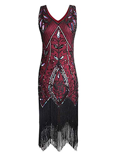 Women Flapper Dresses Plus Size Vintage 1920s Gatsby Inspired Dress Fringed for Prom Party]()