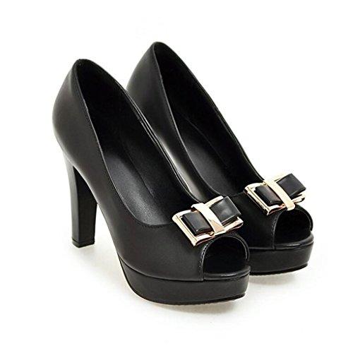 2cm Negro Verano Mujer Para Primavera Baja Grueso Tacón Sra Zapatos Plataforma Super De Boca fqxnv6WOZw