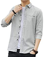 GAGA Men Slim Fit Casual Cotton Long Sleeves Solid Button Down Shirts