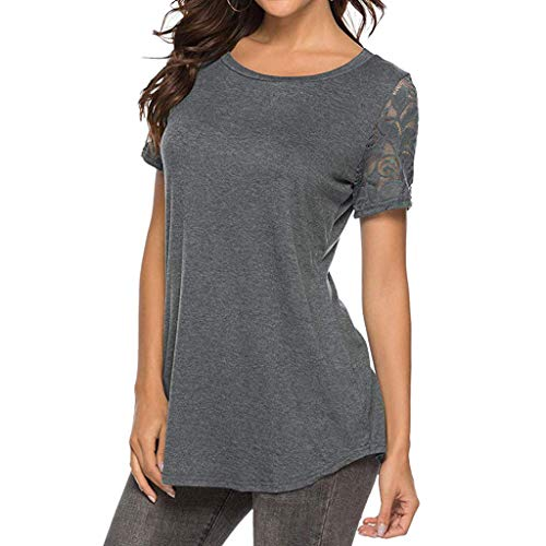 Women's Tops Short Sleeve O Neck T-Shirt Casual Lace Stitching Hollow Solid T-Shirt top Gray]()