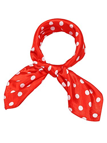 Satinior Chiffon Scarf Square Handkerchief Satin Ribbon Scarf for Women Girls Ladies, 23.6 by 23.6 Inch (Red with White Spots)