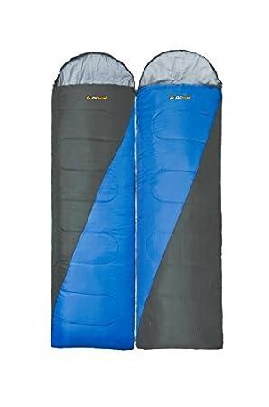 Oztrail Pack de Dos Sacos de Dormir Fraser Hooded 0ºC Twin Pack - uno con Cremallera