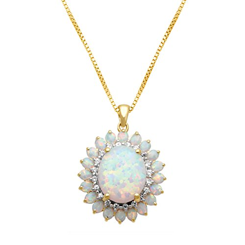 Jewelili 18K Yellow Gold Plated Sterling Silver 12 X 10 mm Oval Created Opal with Created White Sapphire Blooming Pendant Necklace, (18k Gold Pear Shaped Sapphire)