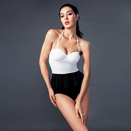 Blanco y negro clásico color puro Pecho pequeño soporte de acero reunir y cubrir el Flaco Traje de baño Spa bañador femenino