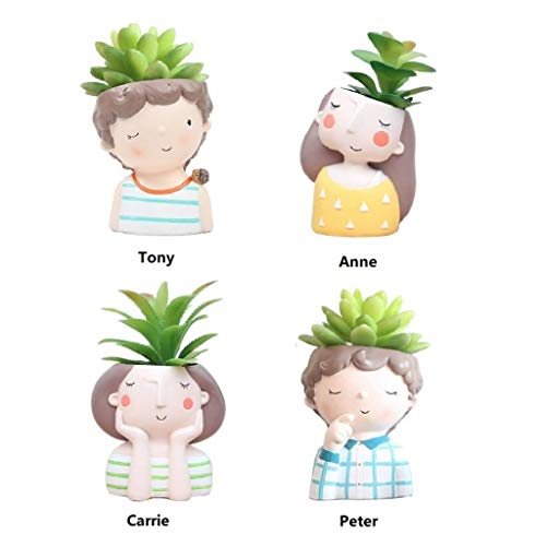 Youfui Garden Pot and Planters Boys Girls Decor Ornament for Home Office Room Desk Decoration,Set of 4 ()