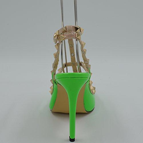 Femme Fermé EURO39 Oasap Bout A Chaussure Aiguilles Green Hauts UK6 Talons US8 Talons Décoration Rivet vq7dwqC