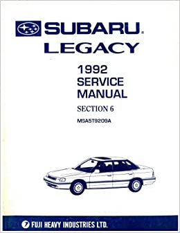 Subaru Legacy 1992 Service Manual Section 6- Msa5t9209a ... on
