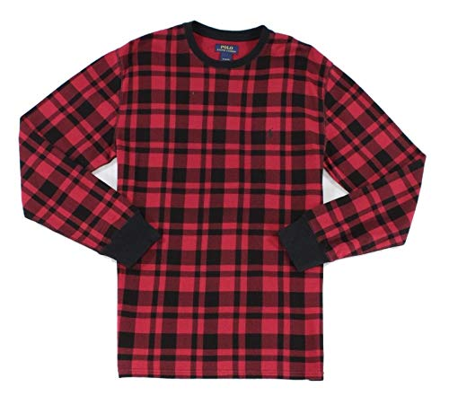 Polo Ralph Lauren Men's Big & Tall Plaid Waffle-Knit Crew-Neck Thermal Top Red 3X