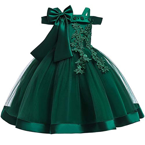 Green Dress for Girls 5T 6T Easter Christmas Birthday Pageant Ball Gowns for Girls 6 Years Old Sleeveless Flower Wedding Formal Dress Tulle Flower Girl Dress Size 5 6 Elegant Vintage (Green 130)
