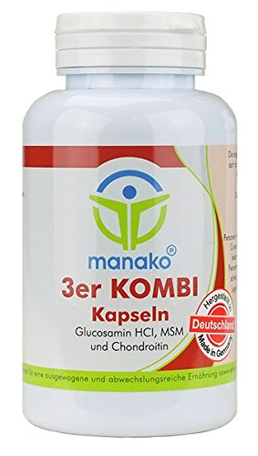 manako ® 3er KOMBI Kapseln Glucosamin MSM Chondroitin, 120 Stück, Dose 84 g (1 x 120 Kapseln)