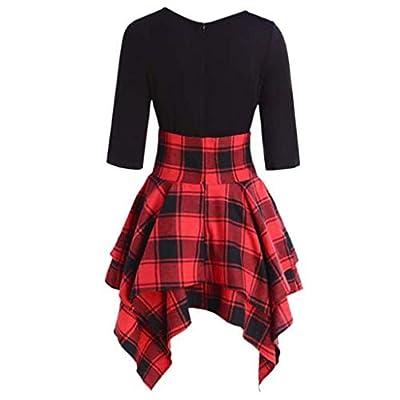 CreazyBee Fashion Women School Casual O-Neck Lace Up Tartan Plaid Print Asymmetrical Mini Dress Plaid Shirt Skirt