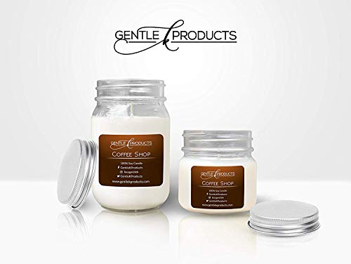 - Gentle K 100% Hand-Poured All Natural Clean Burning Soy Wax Scented Mason Jar Candles with Therapeutic Essential Oil - 13 Fragrances - (Coffee Shop) - (Size - 1x16oz & 1x8oz)