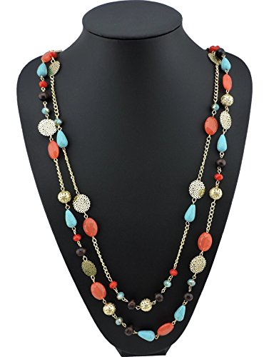 BOCAR 14K Gold Plated Link Chain 2 Layer Crystal Wood Acrylic Colorful Women Party Long Necklace Gift (10084-coral) from Bocar