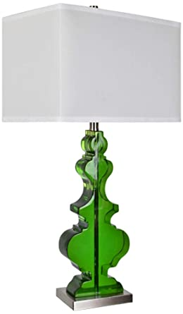 Crestview Collection Dillman Clear Emerald Green Table Lamp