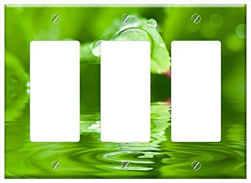 Switch Plate Triple Rocker/GFCI - Drip Dew Dewdrop Water Drop Of Water Leaf Halm 1 ()