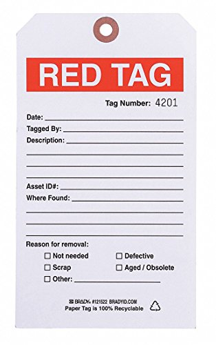 5S Red Tag, 4 x 7IKn, Cardstock, PK100