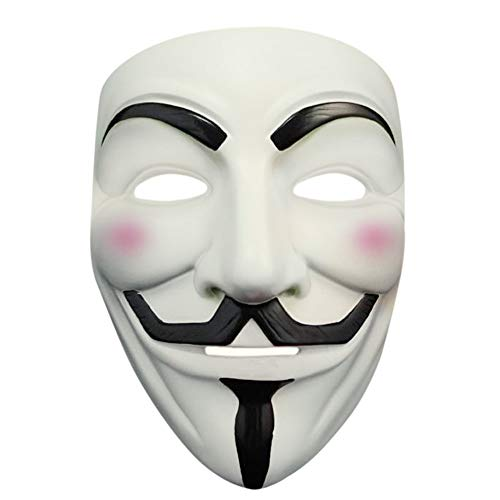 Halloween Masquerade Anonymous V for Vendetta Guy Mask with Sticker (White 1) -