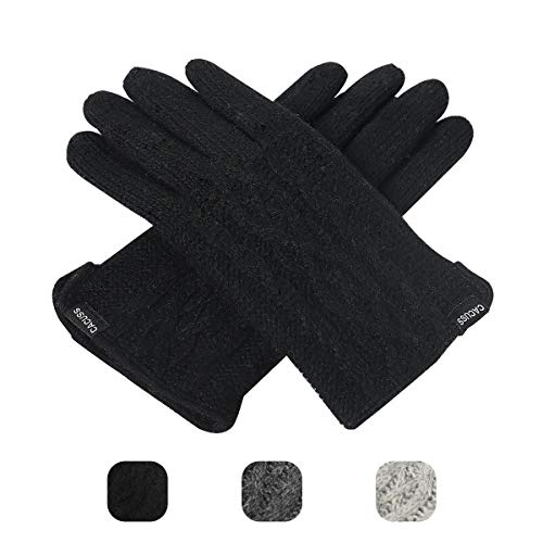 Gloves Striped Nylon (CACUSS Women's Winter Wool Knit Gloves Touchscreen Texting Finger Tips with Warm Fleece Lining (Black))