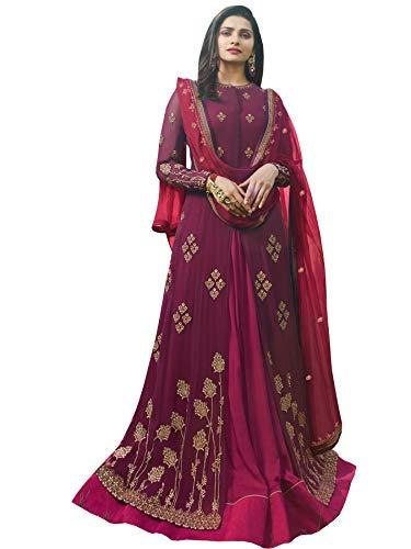 London Collection Prachi Desai Purple Georgette Satin Abaya Style Salwar Suit (Purple, ()