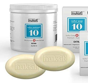 Swiss 3 Pack - Nuksit Sulfur Ointment and two bars Nuksit 10% Sulfur Soap