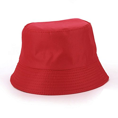(Price/piece)Opromo Blank Cotton Twill Bucket Hat - Plaid Inside, One Size Fits All RED