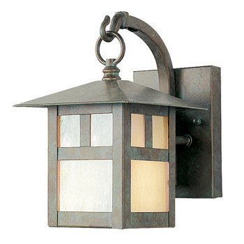 16 Outdoor Wall Lantern with Iridescent Tiffany Glass Shades, Verde Patina (Patina Brass Wall)