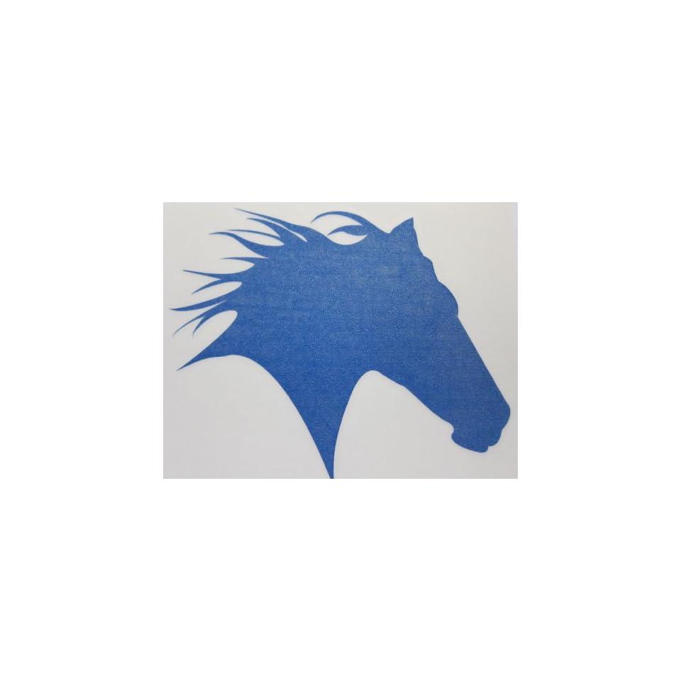 Small Blue Glitter Horse Head Silhouette Car, Truck Window