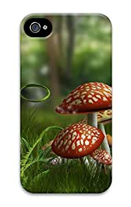 3D PC Case Cover for iPhone 4 Custom Hard Shell Skin for iPhone 4 With Nature Image- Wild mushroom