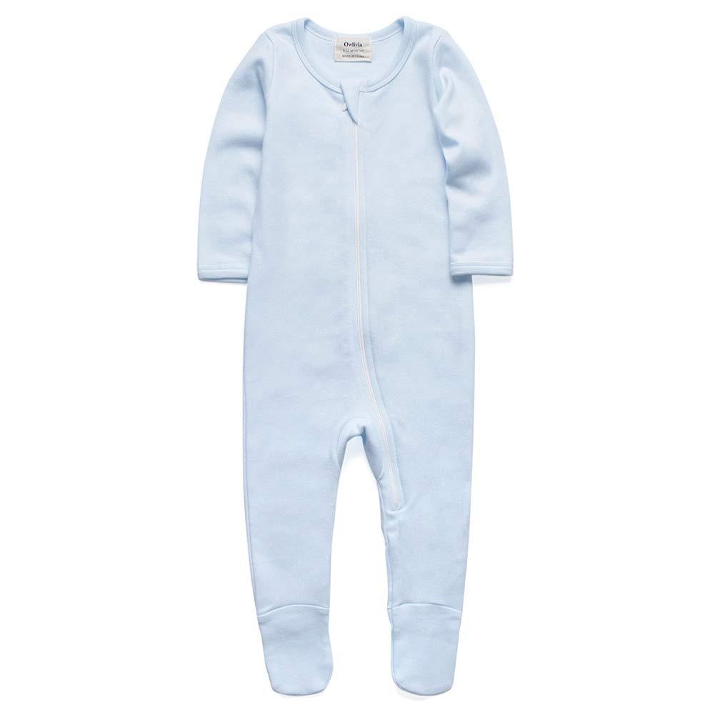 O2Baby Baby Boys Girls Organic Cotton Zip Front