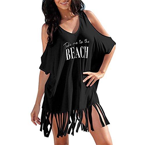 BEAUTYVAN Deals ! Women Dress Bikini Cover-Up 2018 Womens Tassel Letters Print Baggy Swimwear Bikini Cover-UPS Beach Dress (L, Black)