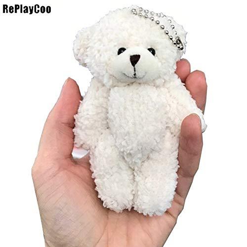 HIGHUP Stuffed & Plush Animals - 50pcs/lot Mini Joint Teddy Bear Plush Toys Chain White Gummy Bears 12cm Animal for Wedding peluches Bicho ursinho de pelucia 1 PCs from HIGHUP
