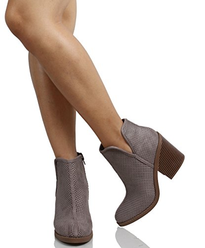 Ankle Stacked Grey Tarpon MVE SodaWomens Block Shoes Perforated Soft Heel Bootie wgqIq0U