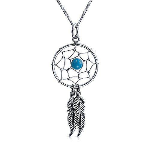 Native American Style Dream Catcher Boho Enhanced Turquoise Feathers Pendant Necklace For Women 925 Silver With Chain