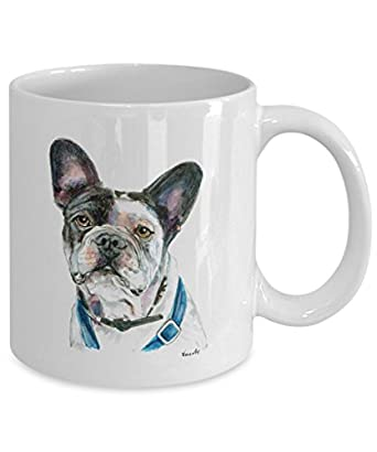 Black and White French Bulldog Mug - Style No.5 - Cute Ceramic Frenchie Coffee Cup (11oz)