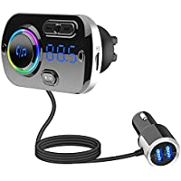 Guoying FM Transmitter Bluetooth FM Transmitter Radio Adapter Car Kit with QC3.0 Fast Charger Music Player TF Card USB…