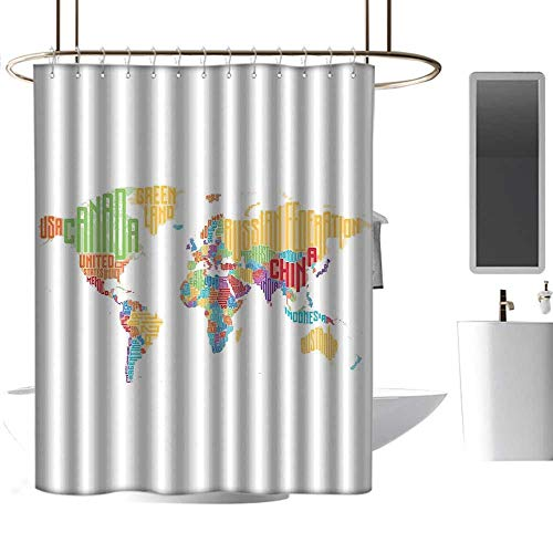 World Map Home Decor Shower Curtain Colorful High School Classroom Map with Names of Countries Educational Print Western Shower Curtains W94 -