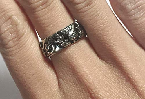 15% Off - Thistle Knot & Circle band - Celtic filigree handfast ring