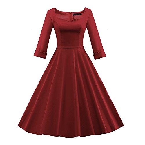 Delle Vestito 50s Bordeaux Di '60 Del Audrey Collare Mezzo Hepburn Donne Quadrato Bfy Estate Manicotto Dell'annata rnFxr7SPw