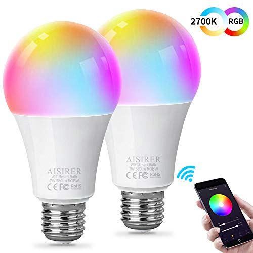 AISIRER Smart Light Bulb,Soft White 2700K+RGB WiFi LED Color Changing Bulb Compatible with Amazon Alexa Echo Google Home and IFTTT Multicolor Dimmable No Hub Required E26 A19 2 Pack
