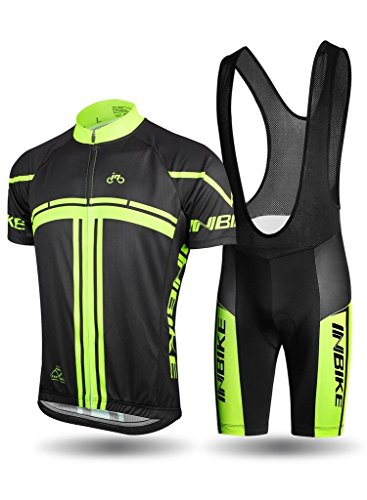 INBIKE Cycling Jersey Men Set Bib Short Sleeve Bike Shirt Gel Padded Bib Shorts for Summer Black XXX-Large